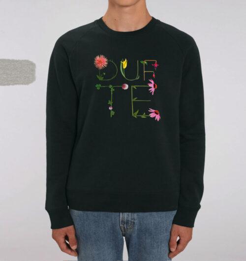 dufte, Blumenbuchstaben gedruckt auf Organic Sewatshirt, black