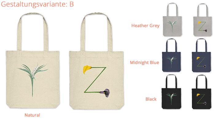 Organic Tote-Bag bedruckt mit deinen Initialen
