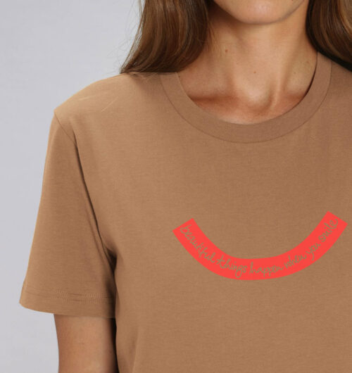 beautiful things happen when you smile, Typo & Texte gedruckt auf organic Baumwollbasics, Faibleshop.com