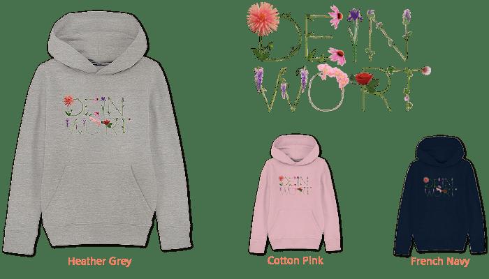 kids organic hoodie bedruckt mit deinem Wort aus Blumenbuchstaben