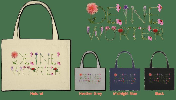 organic shopping bag bedruckt mit deinem Wort aus Blumenbuchstaben