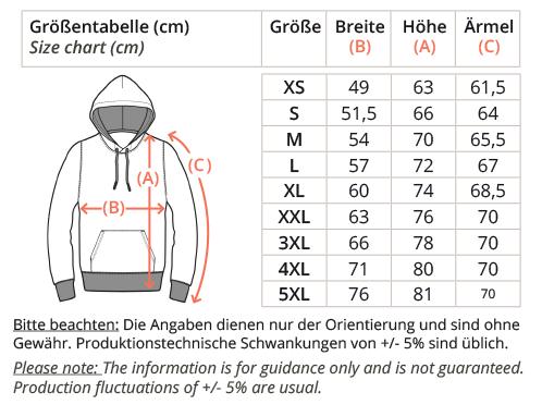 Organic Basic Hoodie-size-chart, faibleshop.com