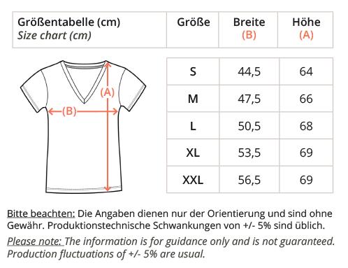 Ladies Organic V-Neck Shirrt-size-chart, faibleshop.com